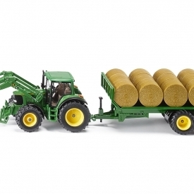 John Deere 6820 Loader with Bale Trailer